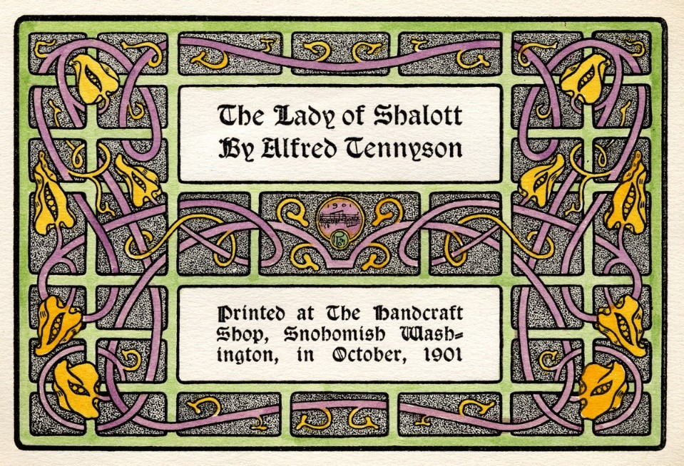 "Hand illuminated title page for Will Ransom's ""Lady of Shalott"". Author's collection."