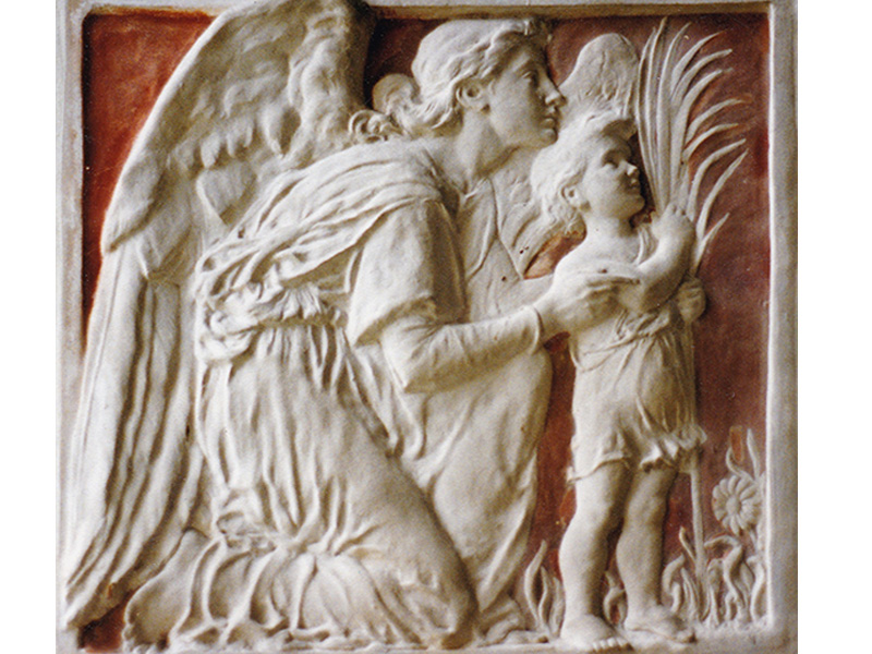Plaster panel of a guardian angel with a child by Ellen Mary Rope in St Peter's church, Blaxhall, Suffolk