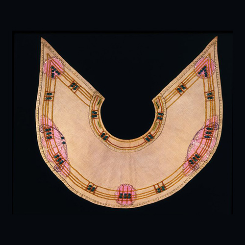 Jessie Newbery Collar- Silk glass beads on linen