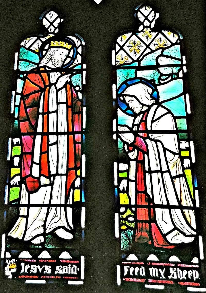 Lowndes' first stained glass window, Hinton St Mary, Dorset, 1893