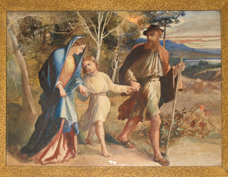 The Flight into Egypt, Kiplin Hall, watercolour