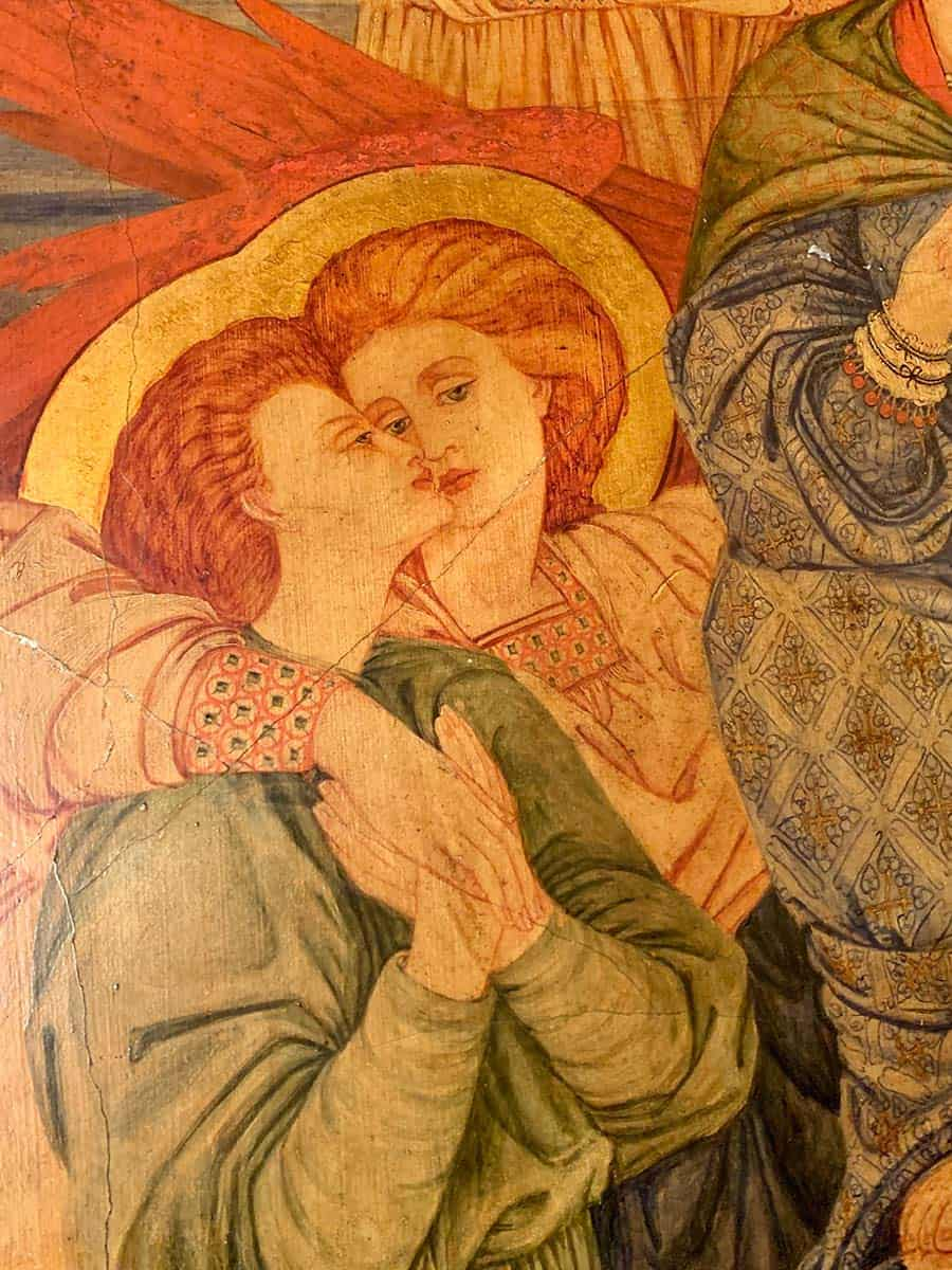 Detail of Motherhood by Phoebe Anna Traquair within the Mortuary Chapel at the Royal Edinburgh Hospital for Sick Children.
