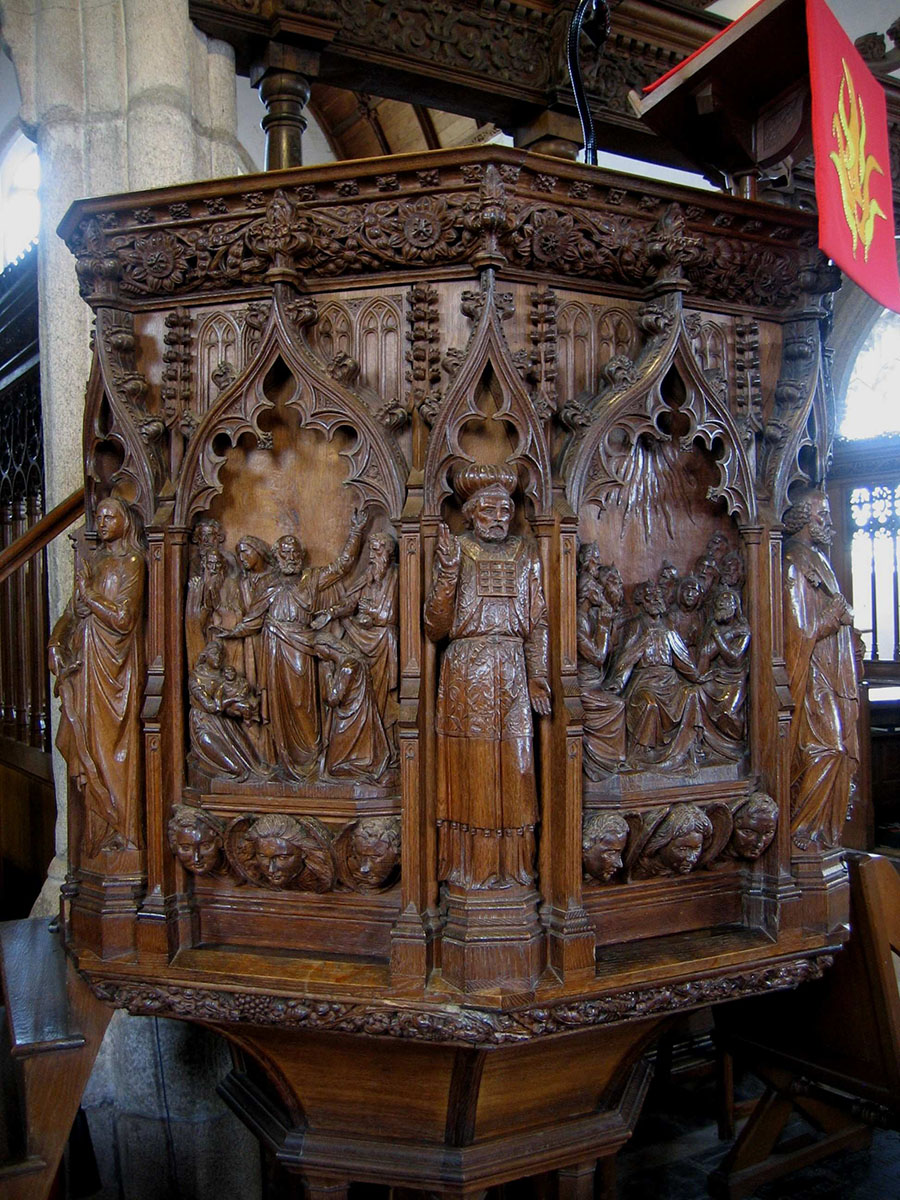 Pulpit at Ermington, Devon, carved by Pinwill Sisters 1889